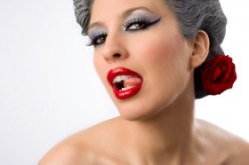 Silver Hair, Red Lips, Seductive tounge, JenHell